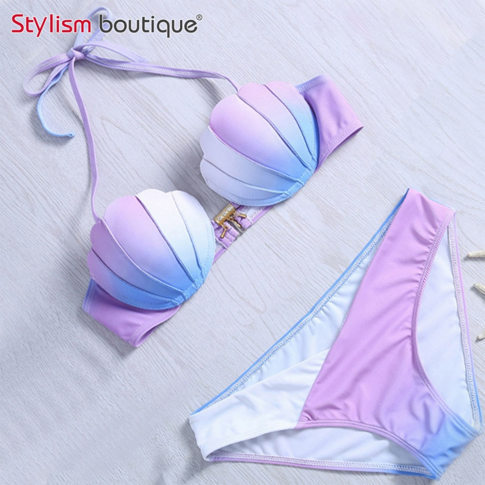 Mermaid Shell Bra Push Up İki Parça Suit Mayo Degrade Renk Beachwear Seksi Bikini Seti Mayo Biquini Maillot De Bain