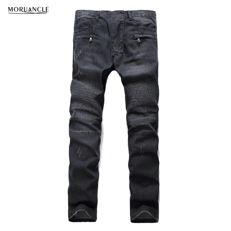 MORUANCLE Mens Fashion Brand Designer Ripped Biker Jeans Distressed Moto Denim Joggers Washed Pleated Jean Pants Plus Size 28-42