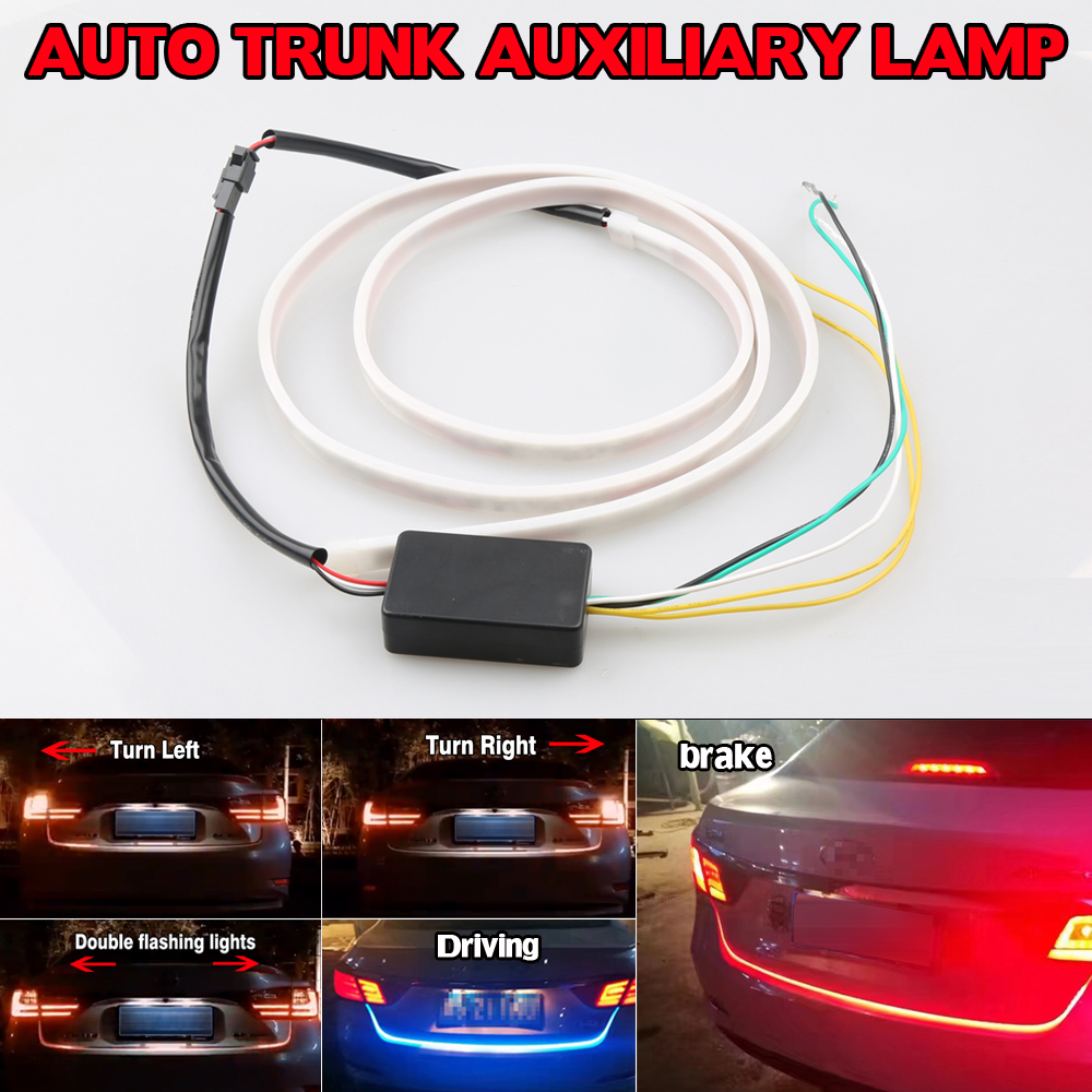 New Car SUV Integrated LED 49 Tail Brake Stop Turn Signal Day Time Running Light DRL Strip Ice blue & Red 12V