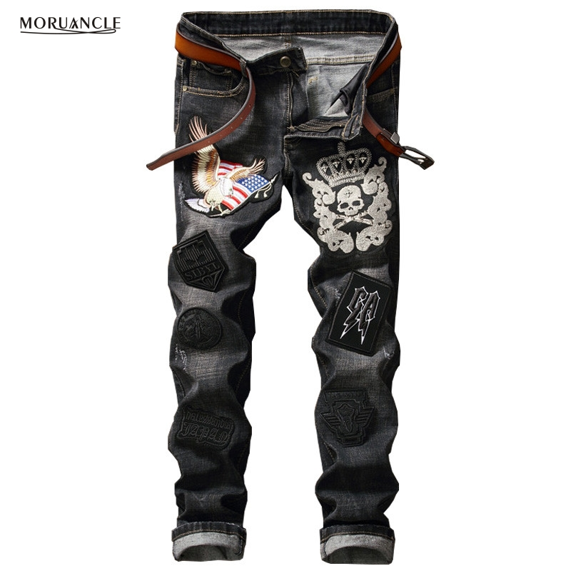 MORUANCLE Brand Designer Men&39;s Patchwork Jeans Pants With Rivets Black Slim Fit Denim Joggers Male Eagle Skull Patches Trousers